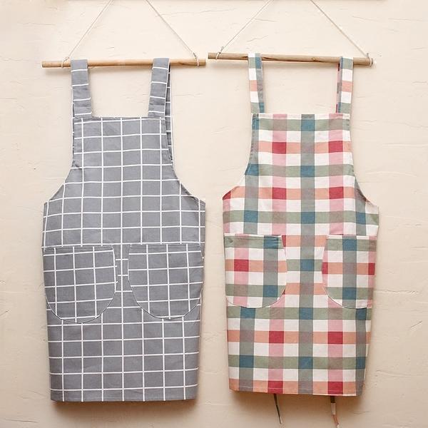 韓式純棉家用圍裙女時尚廚房做飯圍裙罩衣工作成人背心式定制logo