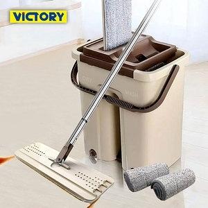 【VICTORY】刮刮樂乾濕兩用免沾手拖把(1桶1拖4布)