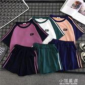 2019新款夏韓版學生寬鬆休閒運動裝女原宿風bf短袖短褲闊腿兩件套『小淇嚴選』