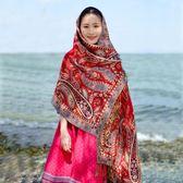 春夏麗江民族風海邊拍照針織圍巾文藝女百搭學生防曬長款棉麻披肩