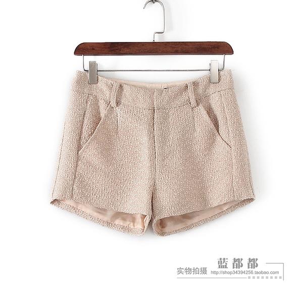 [超豐國際]面春夏裝女裝米金色舒適OL通勤百搭短褲 3066(1入)