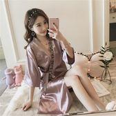 夏季性感睡衣女薄款冰絲綢中長款日系女士睡袍開衫浴袍寬松家居服
