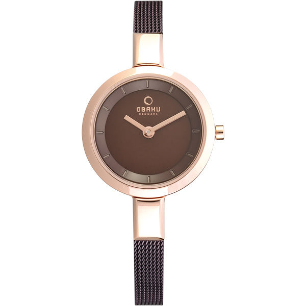 OBAKU 小巧媛式米蘭腕錶-咖啡色
