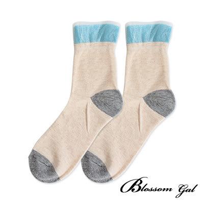 Blossom Gal螢光撞色雪紡反摺兩穿短襪/造型女襪(共5色)