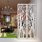 發財樹屏風摺屏影視牆背景玄關時尚白色雕花摺疊屏風櫥窗擺設ATF 蘑菇街小屋