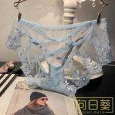 歐美性感刺繡蕾絲花紋透視網紗低腰女士內褲后鏤空綁帶誘惑三角褲
