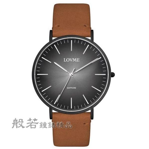 LOVME  簡約風漸層腕錶-黑x咖皮