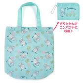 〔小禮堂〕帕恰狗 折疊尼龍環保購物袋《藍綠.小雞》環保袋.手提袋 4901610-80936