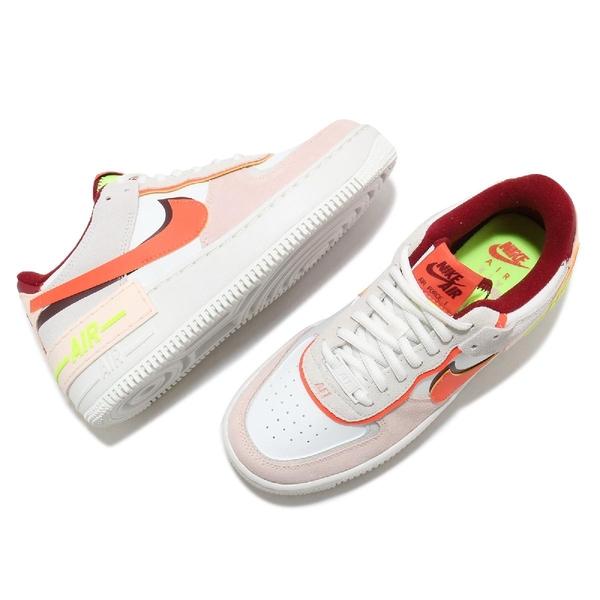 Nike 休閒鞋 Wmns Air Force 1 Shadow 紅 橘 米白 女鞋 解構 AF1 運動鞋 【ACS】 CU8591-600