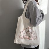 帆布包女單肩日韓可愛少女百搭布袋包女 - 風尚3C