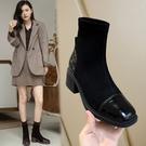 真皮女鞋34~39 2020歐美百搭顯瘦牛皮拼接彈力絨面方頭中跟馬丁靴 瘦瘦靴靴 短靴靴 ~2色
