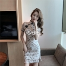 旗袍 改良版復古短旗袍中國風夏裝新款輕款小個子連身裙少女裝
