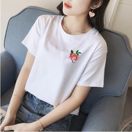 【TU08】短袖T恤 韓版刺繡玫瑰花百搭純棉寬鬆短袖T恤7026
