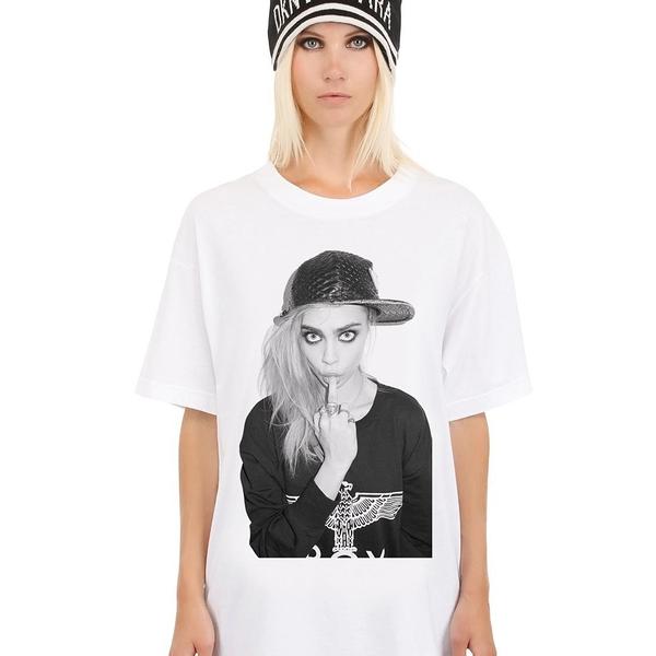 Cara Delevingne-Finger短袖T恤 白色 文字街頭潮流時尚超模名模人物 dope hype 390