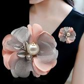 韓版胸針胸花娟紗披肩扣手工布藝花朵優雅大氣別針配飾品女
