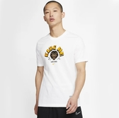 NIKE 短T DRI-FIT LEBORN 白黃 刺繡 LOGO 短袖 運動 休閒 短TEE 男(布魯克林) CD1123-100