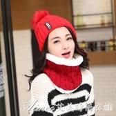 針織帽秋冬新款B字母貼標毛線帽 加厚加絨保暖針織帽 女士時尚毛球帽子 艾美時尚衣櫥