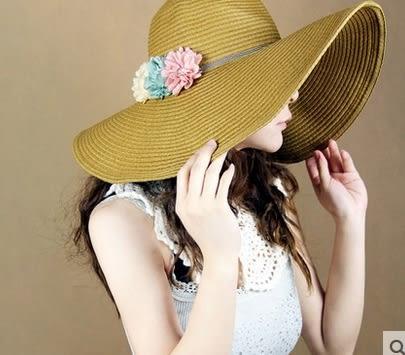 遮陽太陽帽子大簷帽 大草帽 -uai0030