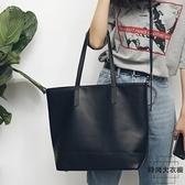 皮包簡約學院風單肩包休閒包購物袋大包包【時尚大衣櫥】