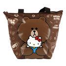 Hello Kitty+LINE熊大餃型手提袋/便當袋(ML0249K)