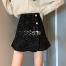 魚尾裙 春裝新款荷葉邊a字半身裙顯瘦百搭高腰格子包臀魚尾短裙子