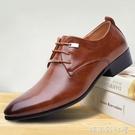 男士皮鞋英倫復古款尖頭男潮流擦色亮皮商務結婚鞋男式增高單皮鞋「時尚彩紅屋」