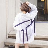 快速出貨-春裝女裝正韓中長款寬鬆拼接織帶薄款襯衫bf風長袖休閒襯衣防曬衣 萬聖節