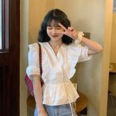 白色襯衫女設計感小眾法式系帶抽繩收腰顯瘦荷葉邊短袖泡泡袖上衣 【ifashion·全店免運】