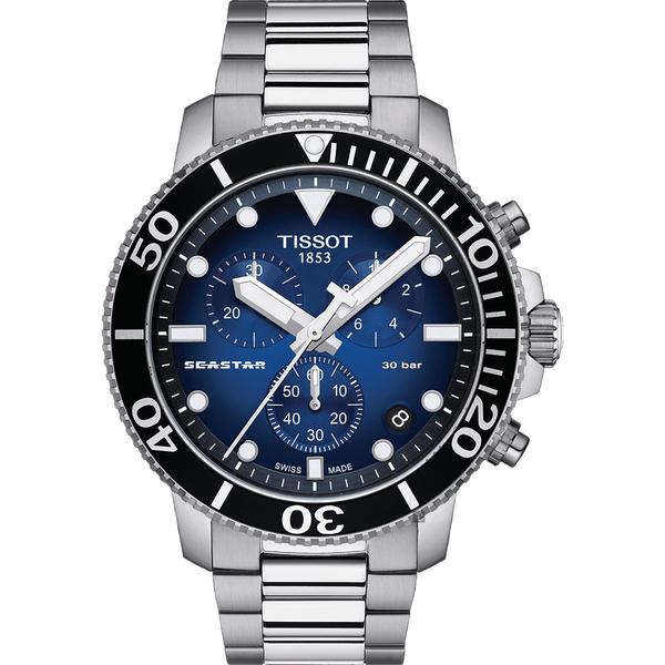 TISSOT 天梭 Seastar 1000 海洋之星300米潛水計時錶-45mm T1204171104101