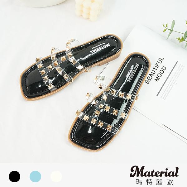 拖鞋 鉚釘透明細帶平底拖鞋 MA女鞋 T78918