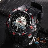 專業潛水員手錶多功能電子錶夜光防水潮人手錶男雙顯游泳手錶WY