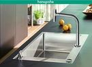 【麗室衛浴】德國 HANSGROHE 43202 廚房龍頭+水槽組合 連動按鈕開關 適合中島/吧台