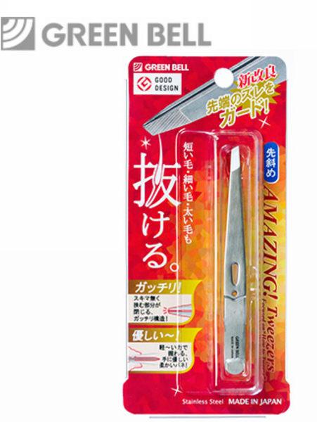 【永昌文具】日本綠鐘Amazing專利設計達人級斜口毛拔(銀色,GT-220)