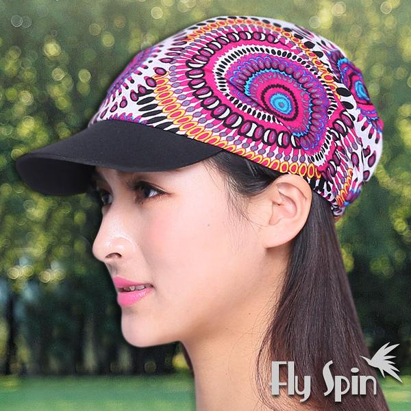 運動帽子-時尚民族風花布休閒軟眉運動帽15SS-C006 FLY SPIN