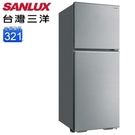 【南紡購物中心】【SANLUX 台灣三洋】321公升1級能效定頻雙門冰箱(SR-C321B1B)
