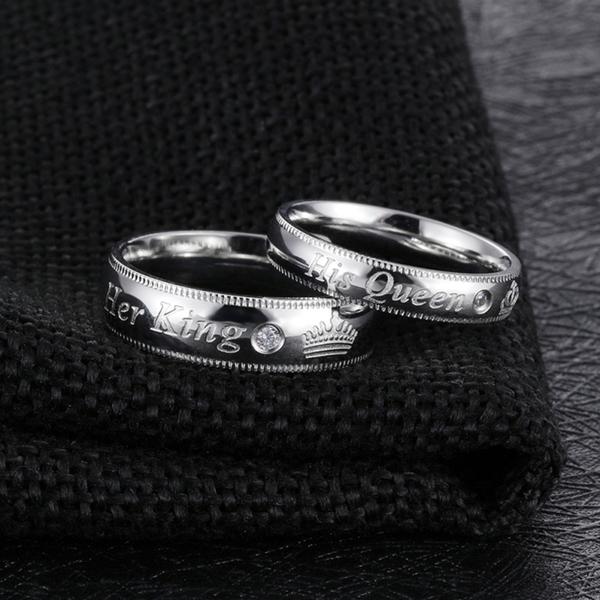 Z.MO鈦鋼屋 白鋼情侶對戒指 國王皇后銀色款 精緻戒指 情人節 客製化刻字 單個價【BKY607】