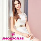 【SHOWCASE】鏤空玫瑰透肩氣質蕾絲洋裝(白)