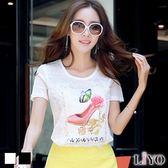 上衣蕾絲珍珠燙鑽圖案印花短袖T恤LIYO理優E732008