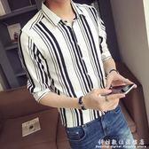 襯衫青年條紋襯衫男短袖夏季韓版修身潮流五分袖衣服薄款彈力半袖襯衣 科炫數位