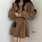 洋裝 女裝冬季2021新款赫本風法式茶歇泡泡袖高端爆款裙子【牛年大吉】
