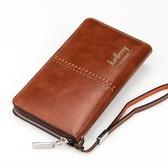 男款錢包 皮夾 長夾新款歐美男士手拿包多功能錢包男長款拉鍊手抓包手機包商務錢包