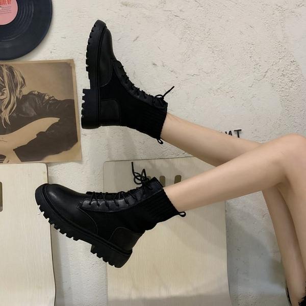 短靴 新款馬丁靴秋冬靴子厚底帥氣英倫風機車靴女襪靴粗跟瘦瘦短靴 (快速出貨)
