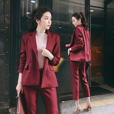 職業西裝套裝~兩件套~韓版名媛小香風修身顯瘦小西裝外套女士面試西服套裝N511A莎菲娜