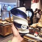 創意藍色系大容量馬克杯陶瓷咖啡杯子帶蓋勺韓版女學生家用喝水杯 【優樂美】