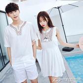 沙灘情侶裝夏裝新款韓版民族風海邊連身裙女學生短袖T恤衫男     潮流前線