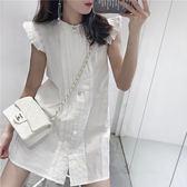 鑽扣小飛袖短洋裝 ♥ onetwo♥