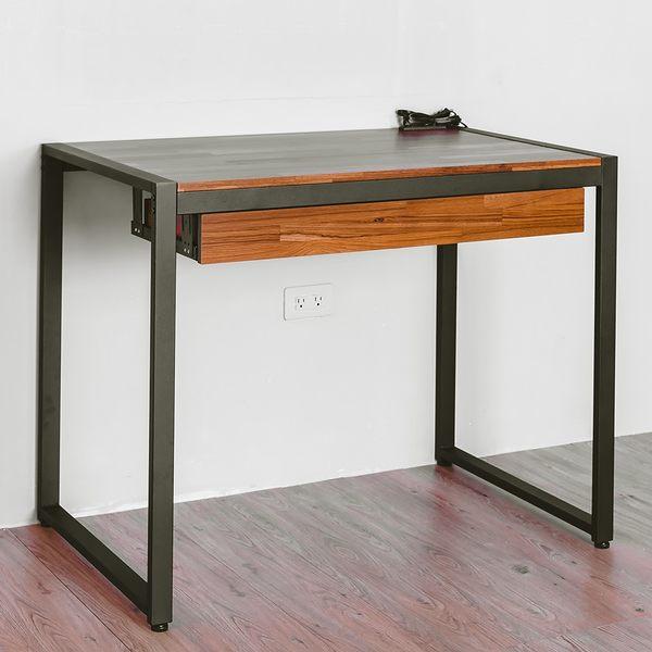 電腦桌/辦公桌/書桌  克里斯美式復刻黑沙拼木工作桌 dayneeds