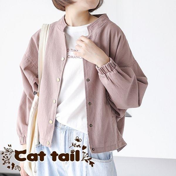 《貓尾巴》LA-0016 簡約立領純色單排銅扣夾克外套 (森林系 日系 棉麻 文青 清新)