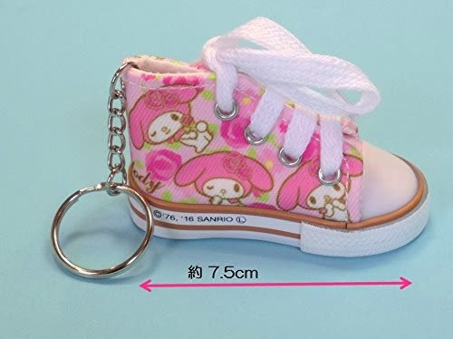 My Melody 美樂蒂 可愛帆布鞋鑰匙圈 玫瑰花款 三麗鷗 該該貝比日本精品 ☆