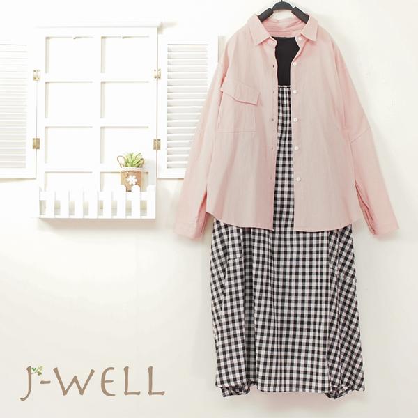 J-WELL 造型口袋襯衫格紋洋裝二件組(組合A249 8J1497粉+8J1646黑)